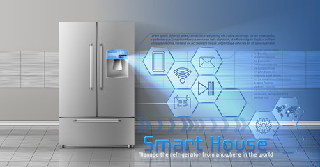 Vector concept of smart house , iot, wireless digital technologies to manage and control household appliances from anywhere. Background with refrigerator and blue virtual interface with icons