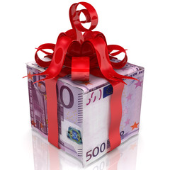 Euro as a gift. The box made from European Union currency notes (500 euro) tied with a red ribbon and a bow. 3D Illustration