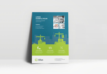 Business Flyer Layout with Construction Graphics