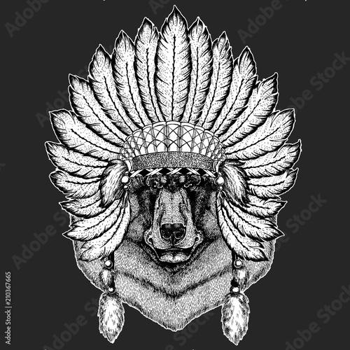 286222d69b808 Black bear Traditional ethnic indian boho headdress Tribal shaman hat  Ceremonial element
