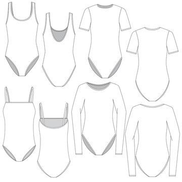 Vector template for Women bodysuits