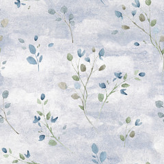 Watercolor Seamless Pattern with Delicate Branches on Grey Watercolor Background