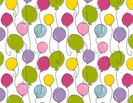Balloon seamless pattern. Pink, purple, green, yellow, blue balloon repeating pattern for gift wrap, birthday, cards, invitations, gift bags, decorations and more. Cute, sweet, simple kids print.