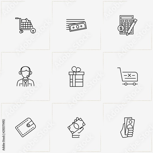 Online Ping Line Icon Set With Money Calculator And Wallet