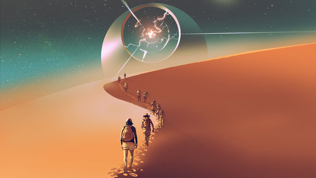 people walking through a desert to the mysterious building, digital art style, illustration painting