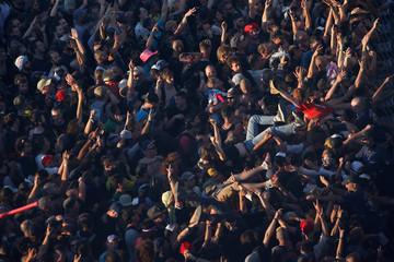 Festival-goer attend the Hellfest music Festival in Clisson