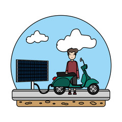 color man charging motorcycle with solar energy