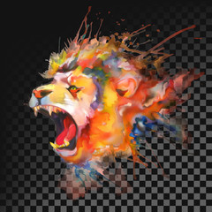 Watercolor painting. Roaring lion. Transparent on dark background