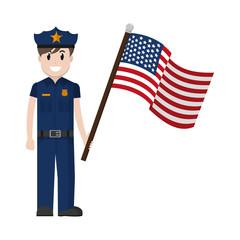 policeman with uniform and america usa flag