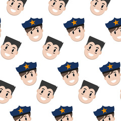 happy policeman and man heads background