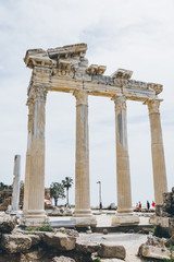 Apollo Temple Side, Turkey. Mediterranean paradise. Turkish riviera. Ruins on the beach. Historical monument.Ancient Greek City.Antalya Province. Pamphylia.Antique church.