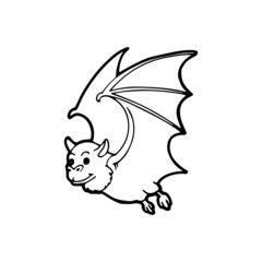 Bat cartoon illustration isolated on white background for children color book
