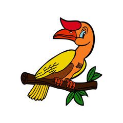 Bird cartoon illustration isolated on white background for children color book