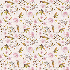 Seamless watercolor pattern. Flowers, leaves, branches on a light pink-rose background.