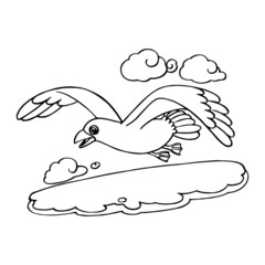 Seagull cartoon illustration isolated on white background for children color book