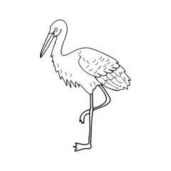 Stork cartoon illustration isolated on white background for children color book