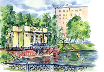 Pavilion by the pond, watercolor sketch. City landscape of Moscow, Patriarshie ponds.