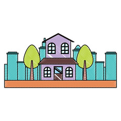 house and trees over landscape and white background, colorful design. vector illustration