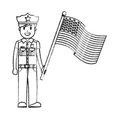 grunge policeman with uniform and america usa flag