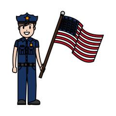 color policeman with uniform and america usa flag
