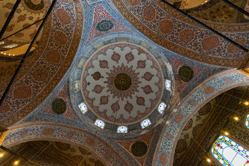Interior Views of the Blue Mosque (Sultan Ahmet Mosque) in Istanbul, Turkey