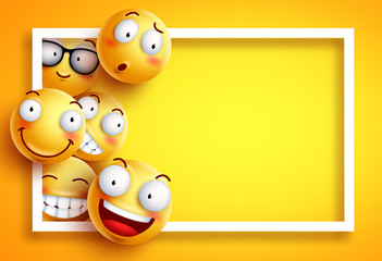 Smiley background vector template with yellow funny smileys or emoticons and empty blank space for text and white frame in yellow background. Vector illustration.