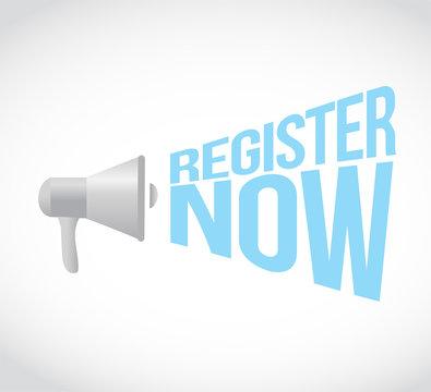 register now megaphone message vector illustration.