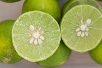 Slice of Lime with close up shot.