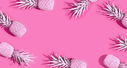 Wall Mural - Painted pineapples on a vivid color background