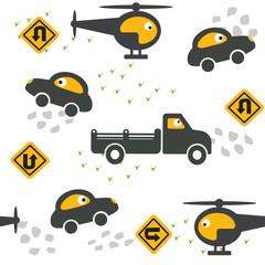 Car toy seamless pattern vector. Kids textile illustration.