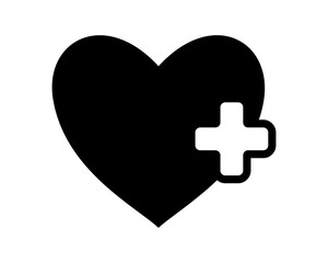 black heart positive medical medicare health care pharmacy clinic image vector icon