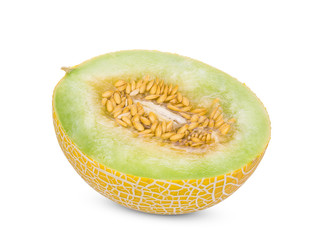 half pearl orange melon with seeds isolated on white background