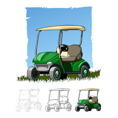 Golf cart sketch drawing