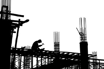 Worker on construction building
