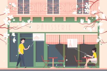 Facade of cafe or cafeteria