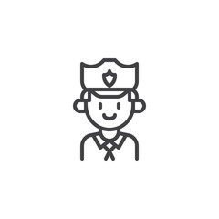 Policeman outline icon. linear style sign for mobile concept and web design. Police man, officer, cop simple line vector icon. Symbol, logo illustration. Pixel perfect vector graphics
