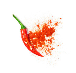 Aluminium Prints Hot chili peppers Chili powder spilled out of a cut open chili pepper