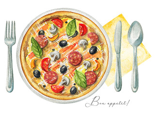 Delicious pizza on a plate with mushrooms, salami, olives and cherry tomatoes. Served with fork, knife, spoon and napkin. Watercolor hand painted illustration