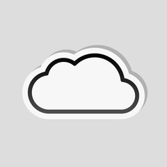 Simple cloud. Linear symbol with thin outline. Sticker style wit