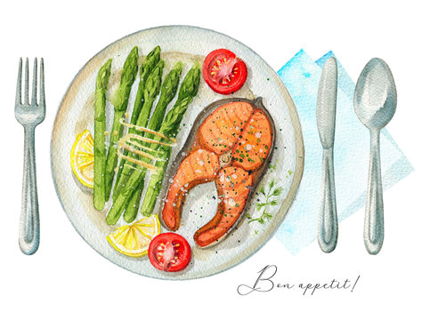 Steak from red fish on a plate with asparagus, lemon and tomatoes. Served with fork, knife, spoon and napkin. Watercolor hand painted illustration