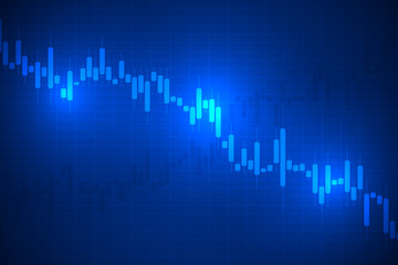 Business candle stick graph chart of stock market trading on blue background design.vector illustration.