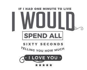 if i had one minute to live, i would spend all sixty seconds telling you how much i love you