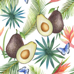 Watercolor vector seamless pattern of avocado and palm trees isolated on white background.