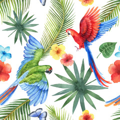 Watercolor vector seamless pattern with parrots, tropical leaves and flowers isolated on white background.