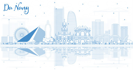 Outline Da Nang Vietnam City Skyline with Blue Buildings and Reflections.