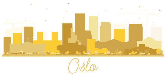 Oslo Norway skyline Golden silhouette.