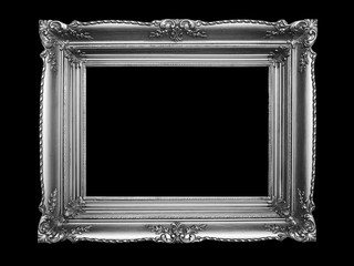 Old Silver Picture Frame on black background