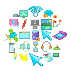 Connecting to database icons set. Cartoon set of 25 connecting to database vector icons for web isolated on white background