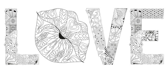 Word LOVE with lips silhouette. Vector decorative zentangle object for coloring