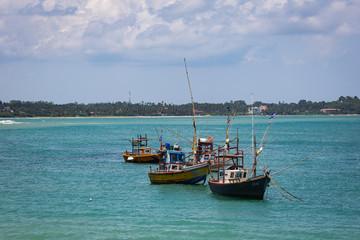 MIRISA, SRI LANKA-APRIL 20: Boats April 20, 2018 in Mirisa, Sri Lanka. Fishermans boats